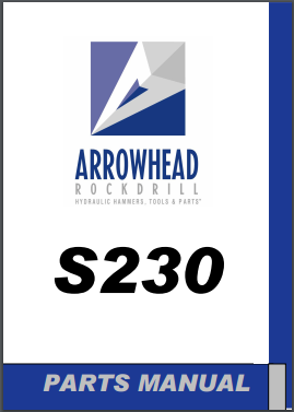 Arrowhead S230 hydraulic hammer parts manual
