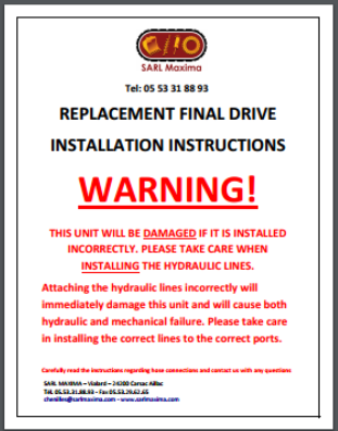Replacement final drive installation instructions