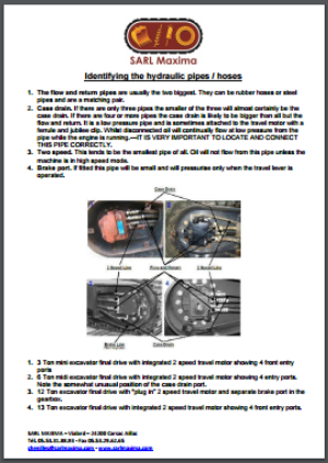 Identifying the hydraulic pipes/hoses on a final drive